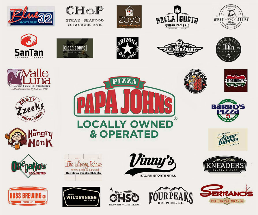 logos of restaurants that support East Valley Foundation