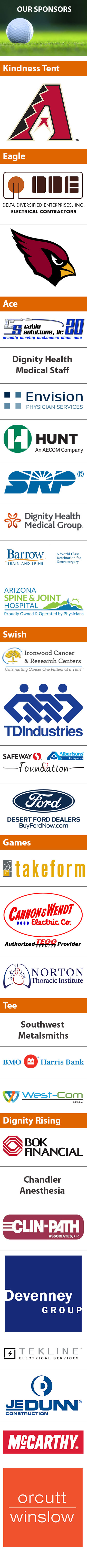 Sponsors for 2020 Golf Classic